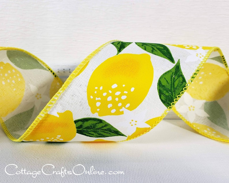 Wired Ribbon TEN YARD ROLL 2 1/2 wide Yellow Lemon image 0
