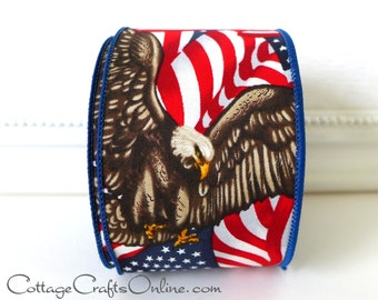 """Wired Ribbon 2 1/2"""" American Eagle, Flag - TEN YARD ROLL -  Red, White, Blue, Patriotic, July 4th, Memorial Day Wire Edged Ribbon"""