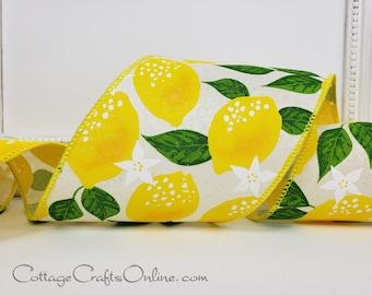 "Wired Ribbon, 4"" wide, Yellow Lemon Print Linen Style, TEN YARD ROLL  ~ Lemons 100 ~ Spring, Summer, Fruit Print Wire Edged Ribbon"