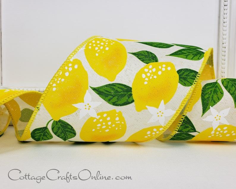 Wired Ribbon 4 wide Yellow Lemon Print Linen Style image 0