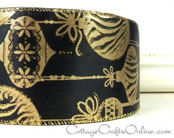 "Christmas Wired Ribbon, 2 1/2""  Gold Ornaments, Glitter on Black Satin - THREE YARDS -  ""Gilded Ornaments"" Craft Wire Edged Ribbon"