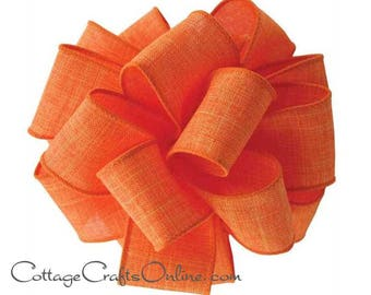 """Fall Wired Ribbon, 1 1/2"""", Orange Faux Linen - THREE YARDS  -  Divine ~ Thanksgiving, Halloween, Spring Wire Edged Ribbon"""