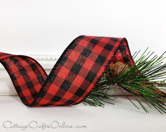 """Christmas Wired Ribbon, 1 1/2"""", Red and Black Check Buffalo Plaid, TWENTY FIVE YARD Roll, """"Cabin Check"""" Lumberjack Gingham Wire Edged Ribbon"""