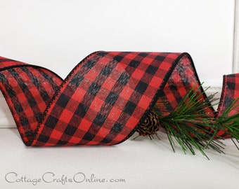 """Christmas Wired Ribbon, 2 1/2"""" Red and Black Check Buffalo Plaid - TWENTY FIVE YARD Roll -  """"Cabin Check"""", Gingham Wire Edged Ribbon"""