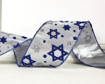 "Wired Ribbon, 2 1/2"", Star of David Blue, Silver Glitter  - TEN YARD ROLL ~ David Metallic ~ Chanukah, Hanukkah Craft Wire Edged Ribbon"