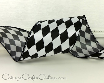 """Wired Ribbon, 2 1/2"""" wide, Black and White Harlequin Diamond - THREE YARDS - Offray """"Court Jester"""" #710018 Wire Edged Christmas Ribbon"""