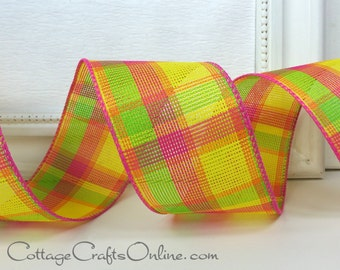 """Wired Ribbon, 2 1/2"""", Yellow, Pink, Orange, Lime Green Check Plaid - THREE YARDS - Offray """"Fruit Salad"""", Spring, Summer, Wire Edged Ribbon"""