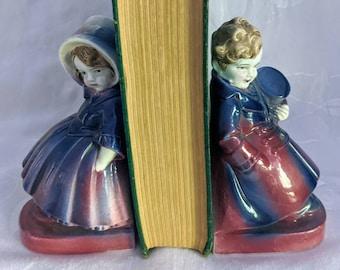Bookends Germany Children Victorian Children Ceramic Vintage