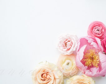 Styled Stock Photo, Flower Stock Product Photography, Minimal Florals Photo, Peony, Ranunculus, Flower Border, Flower Custom Stock Photo