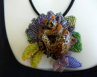 Pendant Necklace Leopard Hand Carved Tagua Bead Embroidery Gift! INBW