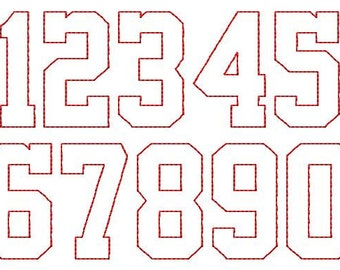 """School Time Reverse Applique - NUMBERS - Machine Embroidery - 4 sizes - 1"""",2"""",3"""" and 4"""""""