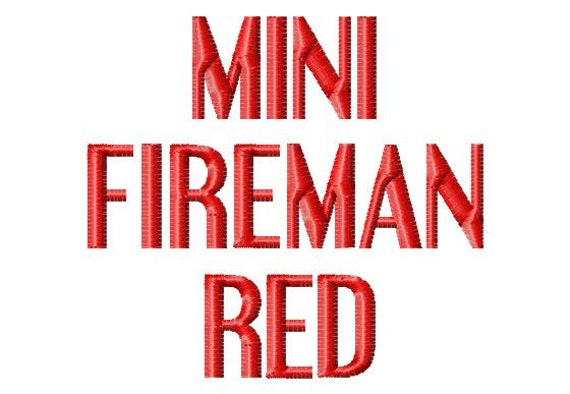 Mini Fireman Red -  5in  (half inch) - Machine Embroidery Font - BUY 2 get  1 FREE - Mini Fonts