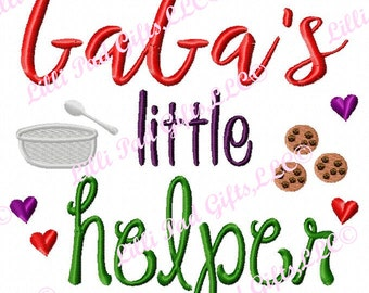 GaGa's little helper-cookies - Machine Embroidery - 6 Sizes