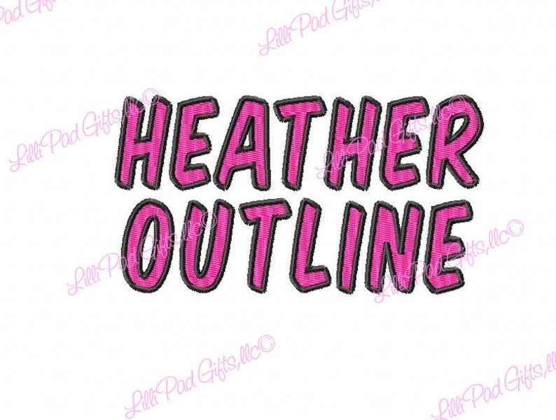 Heather Outline - Machine Embroidery Font - Sizes 1