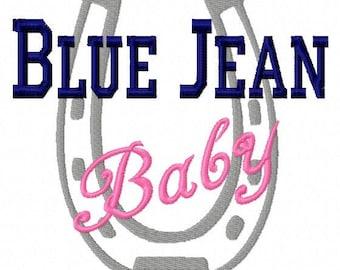 Blue Jean Baby - Horseshoe - Machine Embroidery Design - 8 Sizes