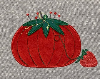 Pincushion with Strawberry Machine Embroidery Applique design