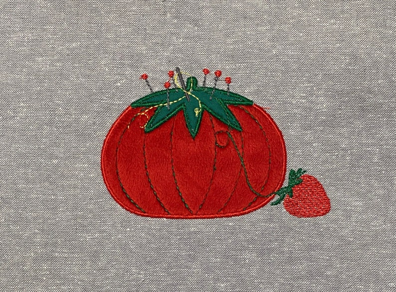 Pincushion with Strawberry Machine Embroidery Applique design image 0