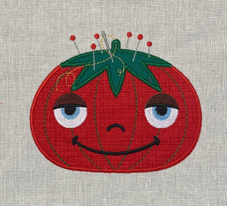 Happy Pincushion Machine Embroidery Applique Design image 0