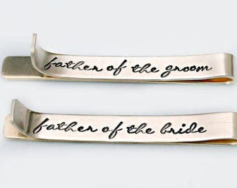 Set of Two Tie Bars - Father of the Bride Gift- Father of The Groom Gift - Wedding Gift Set of 2 - Gold Tie Bars with  Monogram - Tie Clip