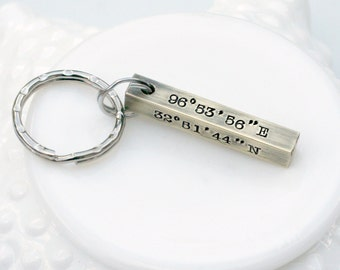 1d0ab2ca90f9c Coordinate Keychain - Location Keychain - Latitude Longitude - Going Away  Gift - Long Distance Love -