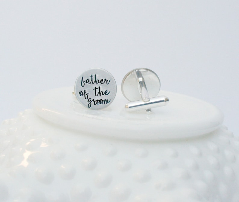 Father of the Bride or Groom Personalized Cufflinks Hand Stamped Silver Shirt Fasteners Wedding Day Gift for Dad Custom Cuff Links