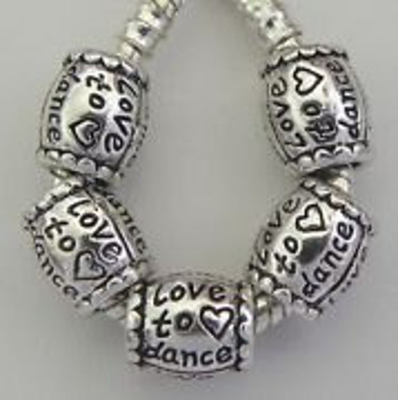 /'Love To Dance/' Bead Charm Spacer Fits European Bracelets /&Necklace
