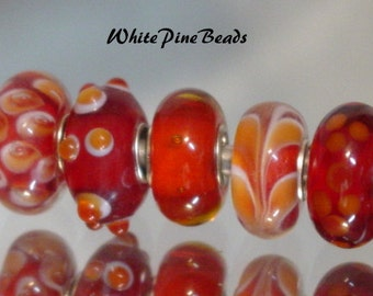 Murano Lampwork Glass Beads RED and Orange 5 Piece Set for European Charm Bracelets