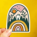 Rainbow Home in the Mountains - Vinyl Sticker
