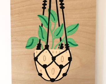 Hanging Plant - Hand Painted Wall Plaque - 8x10