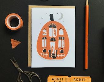 Haunted House Carved Pumpkin - Halloween Card