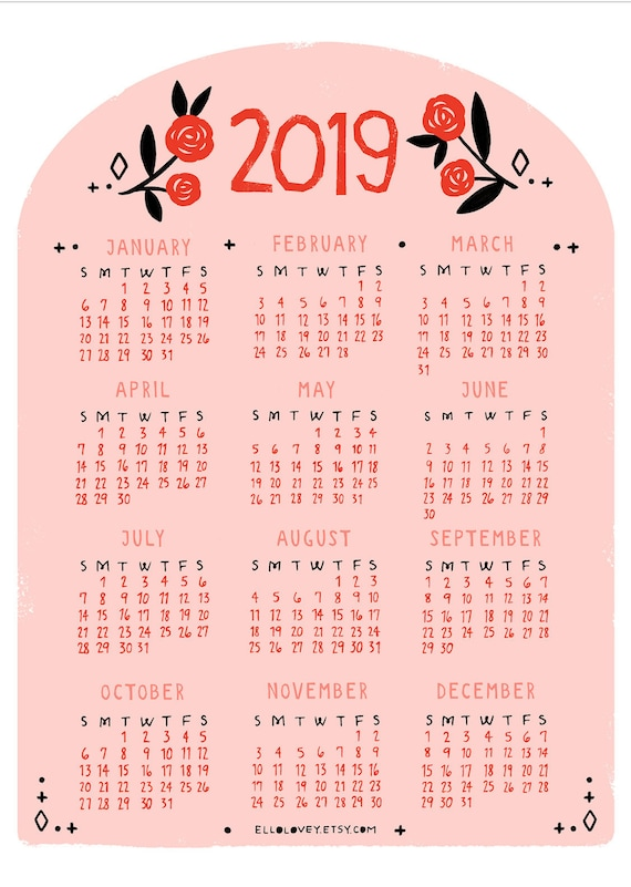 2019 Mini Rose Year Calendar Printable Etsy