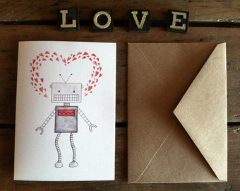 Robot Love Card - Watercolor