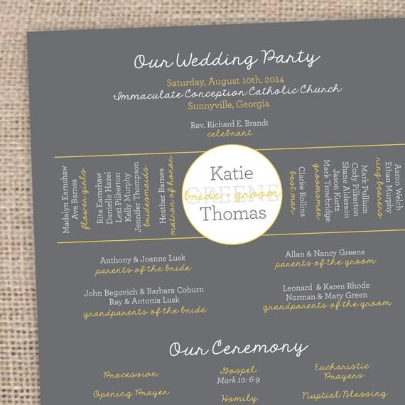 one page wedding program