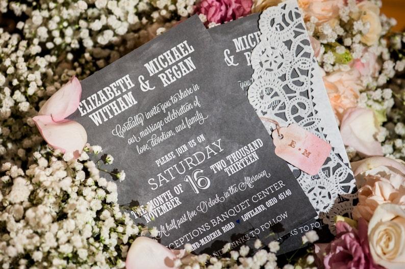 Chalkboard Wedding Invitation Suite  Printable File. Vintage image 0
