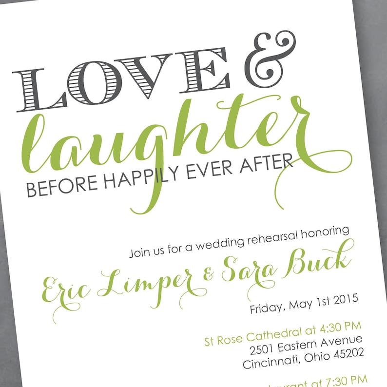 fcbc0ce8a68a Love and Laughter Rehearsal Dinner Invitation Digital Design