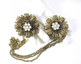 Pearl Chatelaine Brooch, Two Flower Pins, 1950's, Three Chains, Antiqued Gold Tone, Faux White Pearls, Embossed Floral, Gift Idea, Excellent