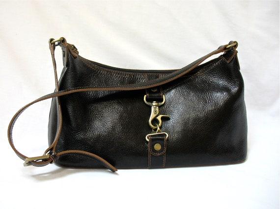 Vintage ETIENNE AIGNER Leather Shoulder Bag Purse Black  8ec821099190b