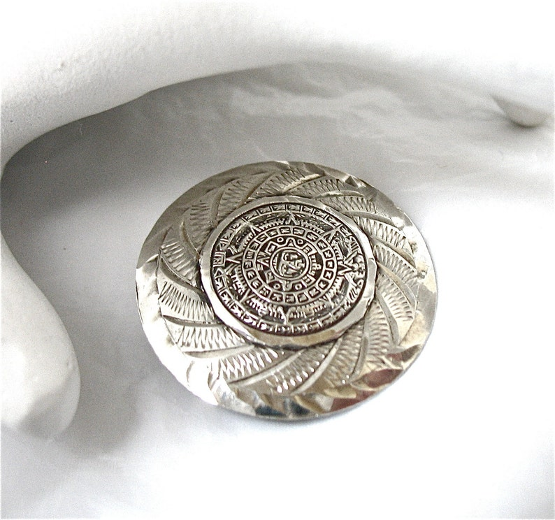 Handcrafted Sterling Silver Brooch Pin Pendant Mayan Aztec Calendar Taxco Mexico Mexican Pins, Brooches