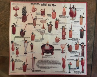 Vintage Kahiki Tiki Restaurant Drink Menu Art