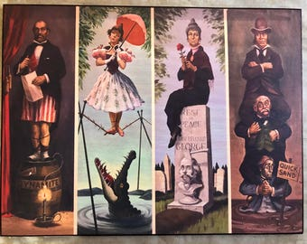 Haunted Mansion Stretching Portraits Disneyland  Art Version 1 Canvas Paint Style(All Four On One Wooden Plaque)