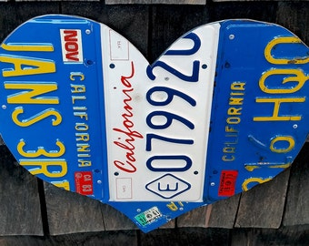California 1969 1970s 1980 Vintage License Plate Heart