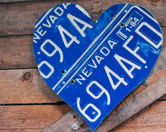 Nevada Blue 1982 Vintage License Plate Heart