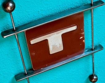 Original Metal Wall Sculpture 1970's Datsun Tailgate Letter T.