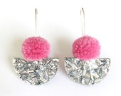 Pom Scallop Drop - Dusty Pink Pom Pom & Silver Lush Glitter - Laser Cut Acrylic Drop Earring - Each To Own