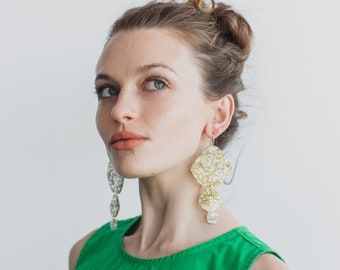Triple Pippi Drop - Lush Gold Silver Glitter Statement Earring - Laser Cut Acrylic Geometric Drop Earrings - Each To Own Original