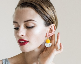 Pom Scallop Drop - Yellow & Silver Lush - Laser Cut Acrylic Drp Earring - Each To Own