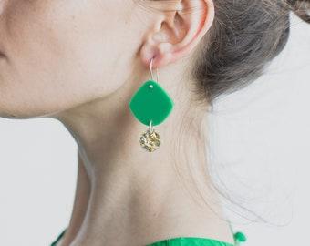 Double Pippi Drop - HOOP OR HOOK - Apple Green Matte Glitter Gold Silver - Laser Cut Acrylic Geometric Drop Earrings - Each To Own Original