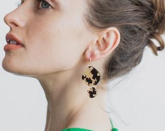 Double Pippi Drop - Faux Tortoiseshell - Laser Cut Acrylic Geometric Drop Earrings - Each To Own Original