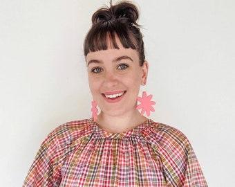 Matte Mega Flora Hoops - Coral Pink Acrylic - Laser Cut Flower Hoop Earring - Each To Own Original