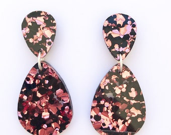 Double Drop Earrings - Black and Rose Pink Glitter - Laser Cut Drop Earrings - Exclusive to Each To Own